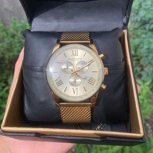 Akribos XXIV Mens Gold Tone Bracelet Watch